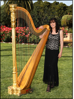 Photo of Professional Harpist Pamela Brown with her harp, serving Austin & Central Texas.